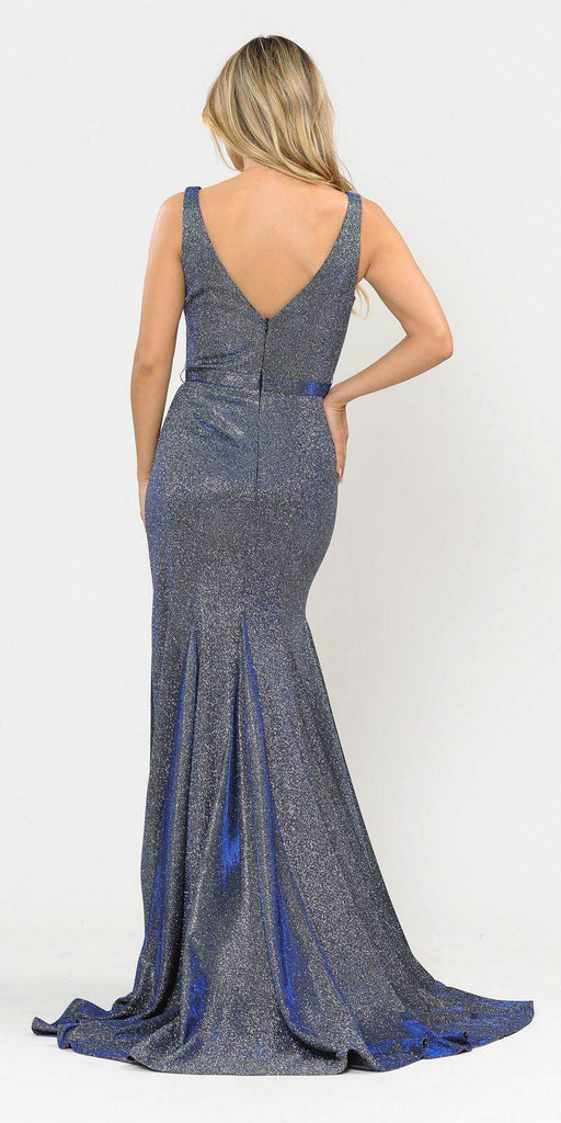 Poly USA 8704 Royal Blue Mermaid Style Long Prom Dress Sleeveless