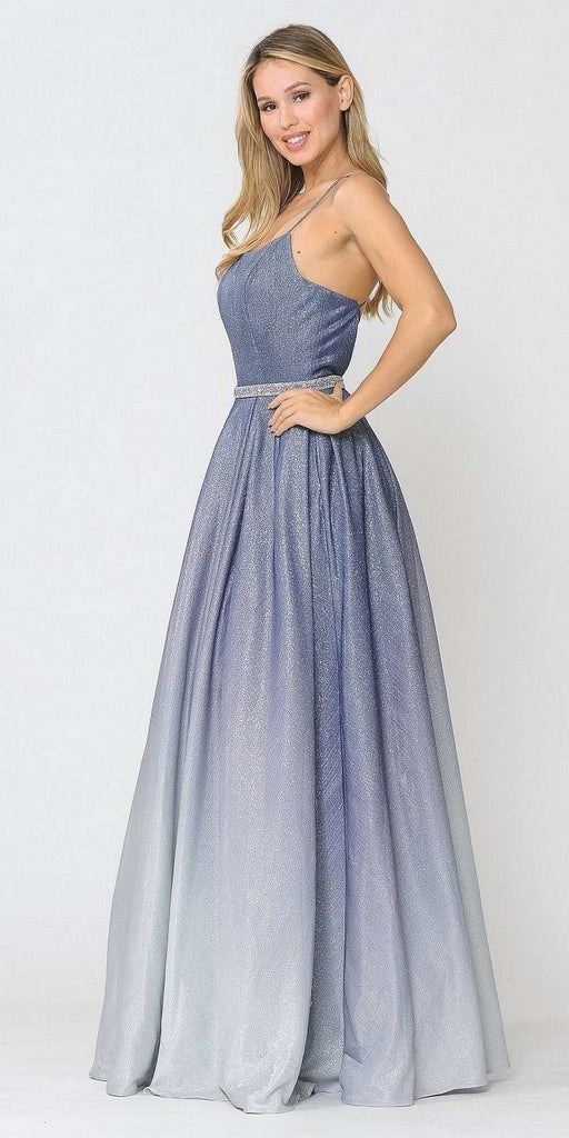 Poly USA 8708 Prom Ball Gown Criss-Cross Back with Pockets Blue