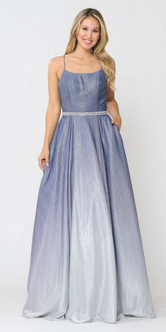 Prom Ball Gown Criss-Cross Back with Pockets Blue