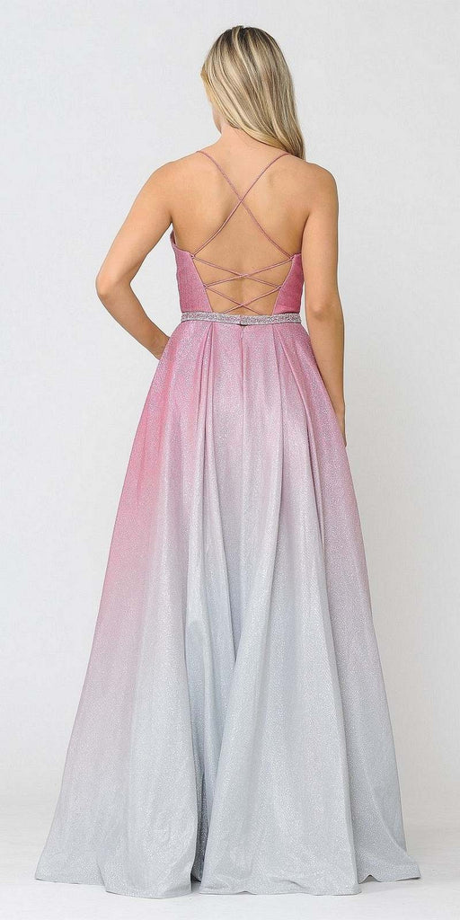 Poly USA 8708 Prom Ball Gown Criss-Cross Back with Pockets Rose