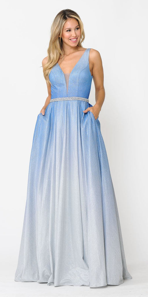 V-Neck and Back Long Ombre Prom Dress with Pockets Blue