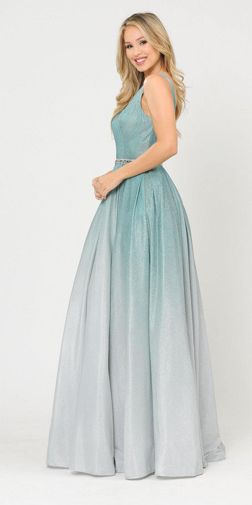 V-Neck and Back Long Ombre Prom Dress with Pockets Green