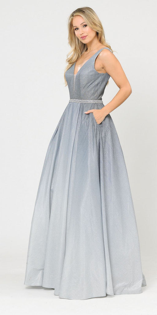 V-Neck and Back Long Ombre Prom Dress with Pockets Gun Metal