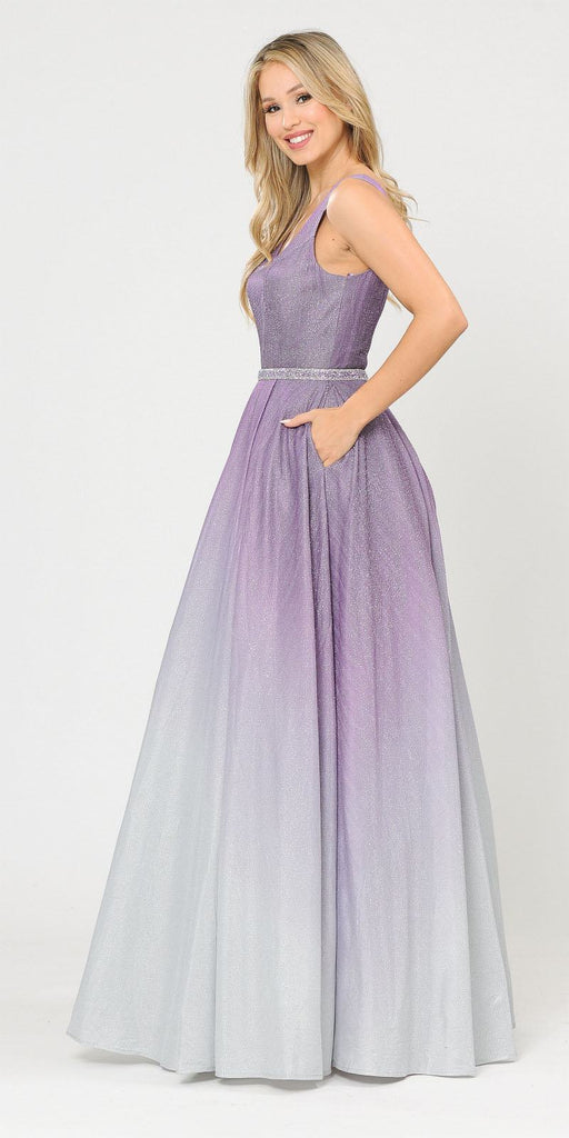 V-Neck and Back Long Ombre Prom Dress with Pockets Lilac