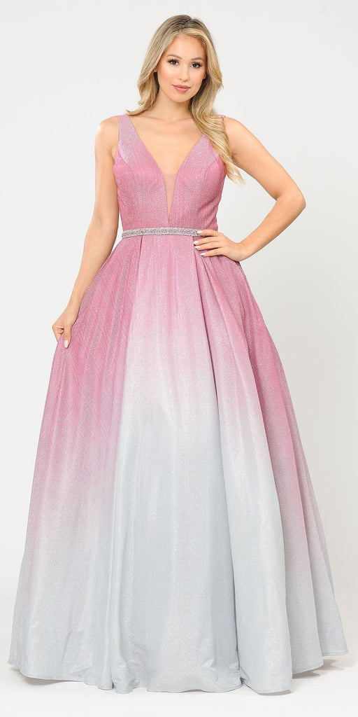 V-Neck and Back Long Ombre Prom Dress with Pockets Rose