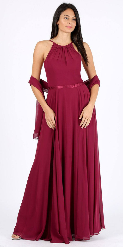A-Line Long Halter Style Formal Dress Burgundy