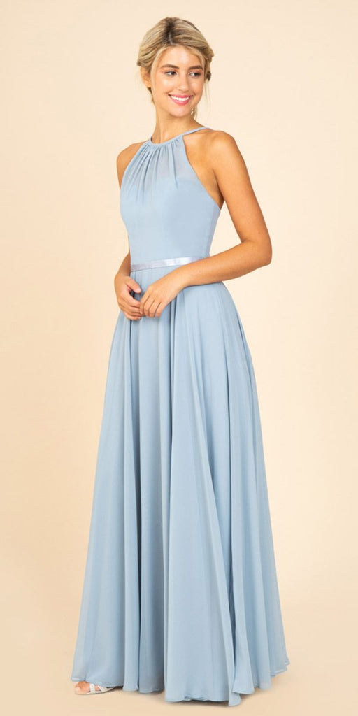 A-Line Long Halter Style Formal Dress Dusty Blue