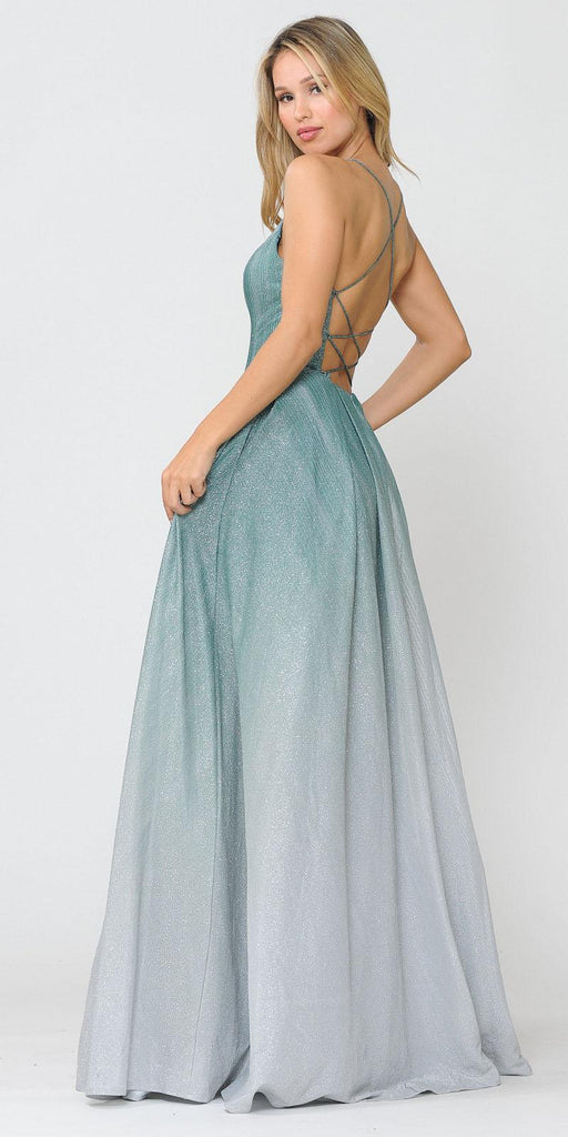 Green/Silver Lace-Up Back Ombre Prom Ball Gown with Pockets