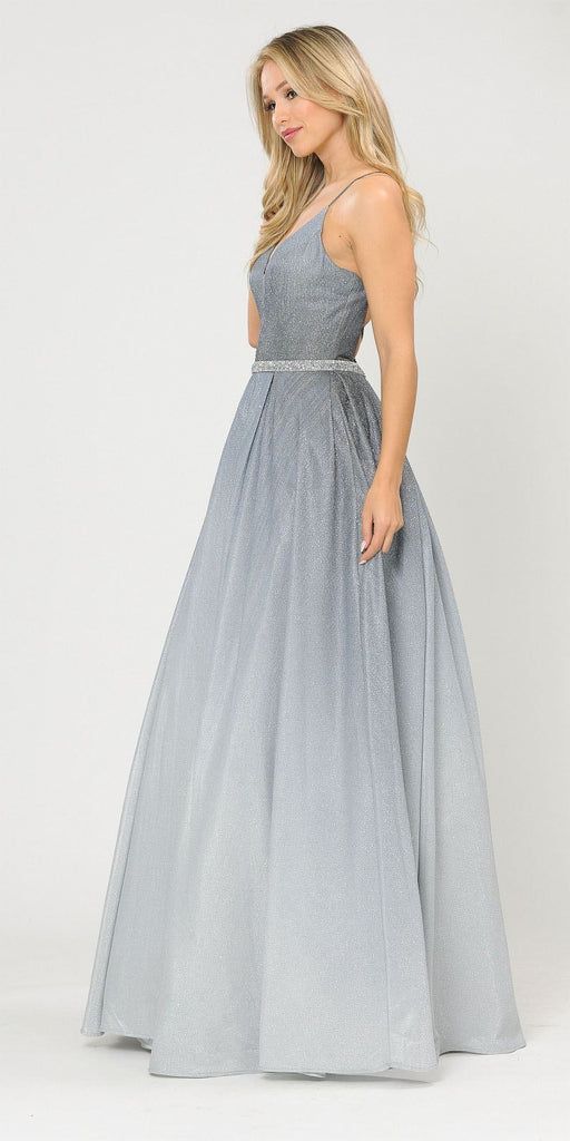Gun Metal Lace-Up Back Ombre Prom Ball Gown with Pockets