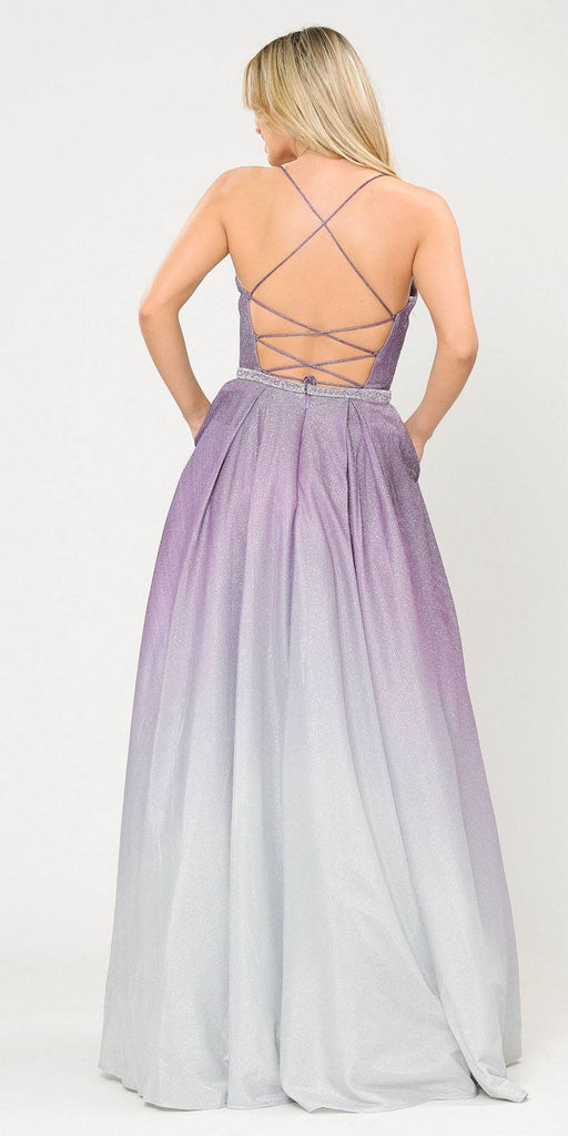 Lavender Lace-Up Back Ombre Prom Ball Gown with Pockets