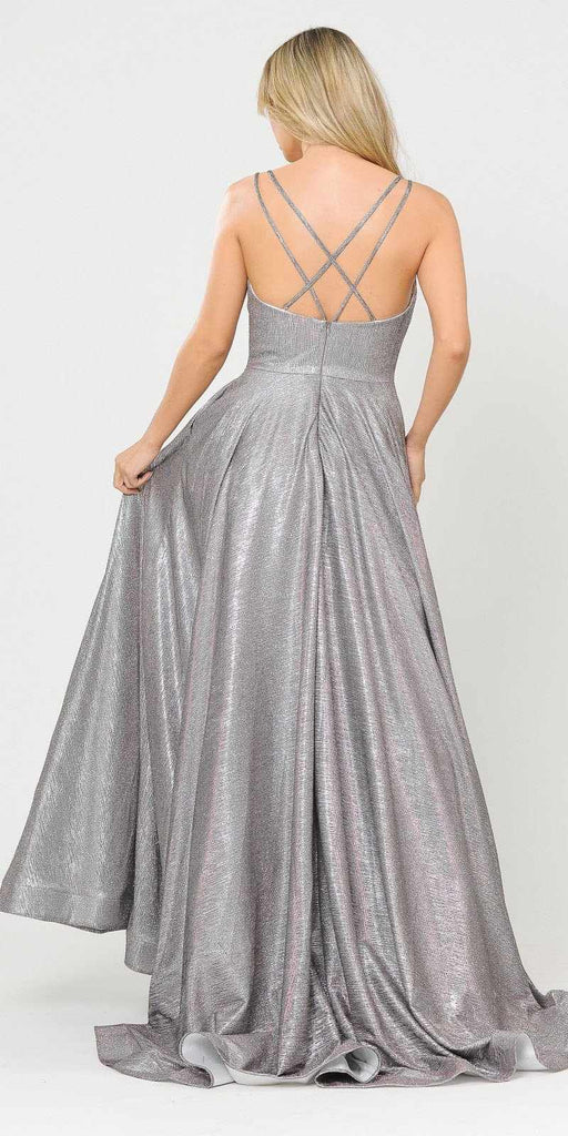 Magenta/Silver Long Prom Dress with Criss-Cross Back