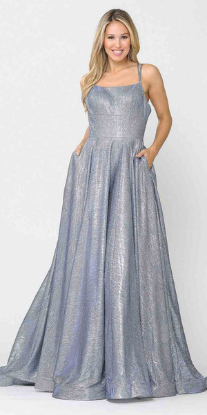 Long Glitter Prom Dress with Pockets Royal Blue