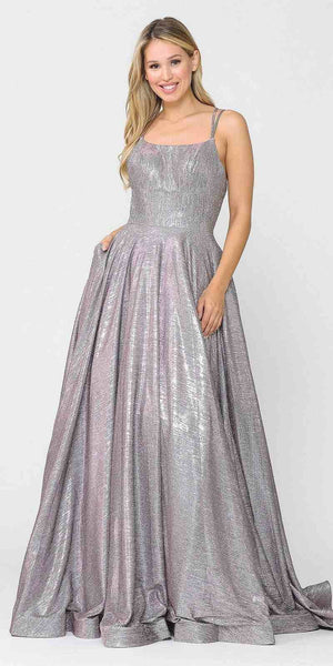 Long Glitter Prom Dress with Pockets Magenta