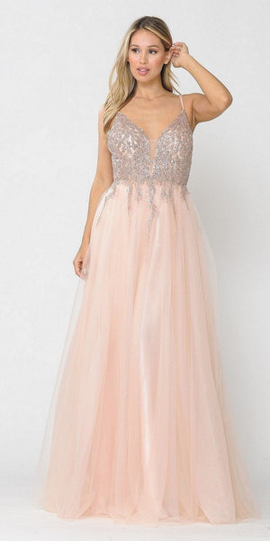 Rose Gold Embellished Bodice Long Prom Dress