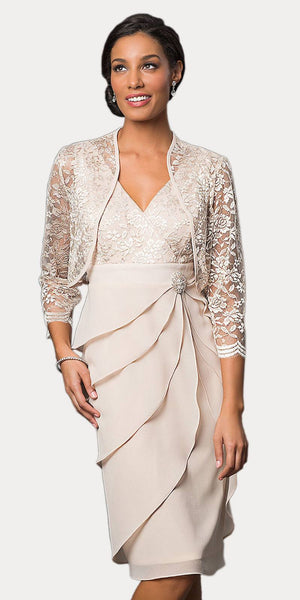 Short Formal Khaki  Dress V-Neck Lace Chiffon 3/4 Sleeve Jacket