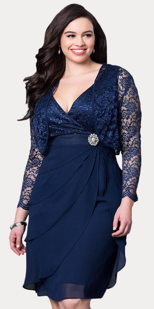Short Formal Navy Blue Dress V-Neck Lace Chiffon 3/4 Sleeve Jacket Back View