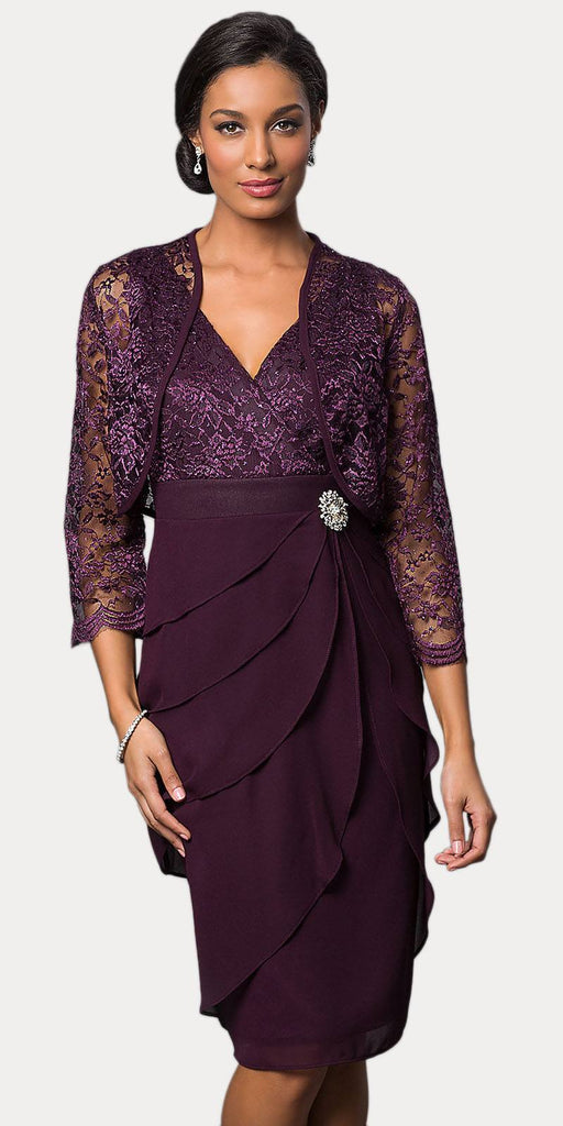Short Formal Plum Dress V-Neck Lace Chiffon 3/4 Sleeve Jacket