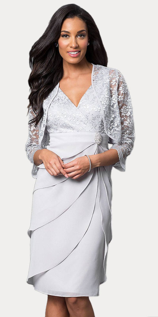 Short Formal Silver Dress V-Neck Lace Chiffon 3/4 Sleeve Jacket