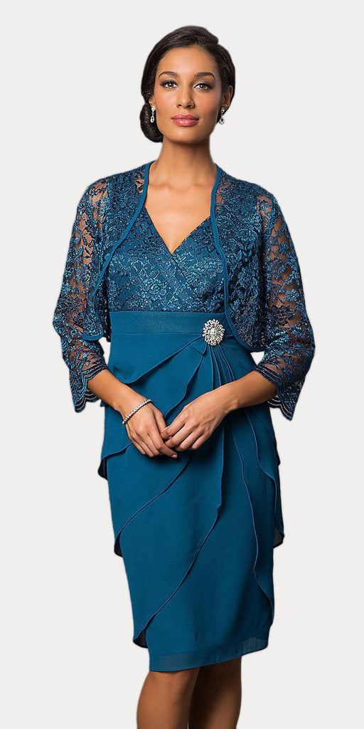 Short Formal Teal Dress V-Neck Lace Chiffon 3/4 Sleeve Jacket