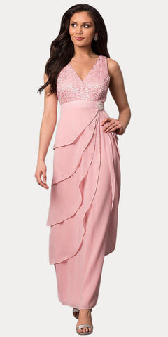 Dusty Rose V-Neck Long Dress Empire Lace Chiffon Include Lace Jacket