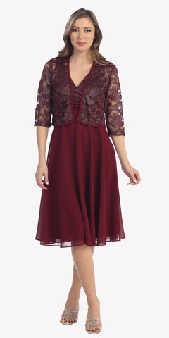 Short A Line Burgundy Chiffon Knee Length Dress 3/4 Bolero Jacket