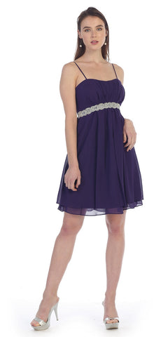 Cute Knee Length Maternity Plum Dress Chiffon Empire Spaghetti Strap