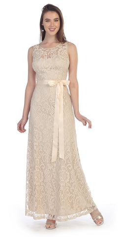 Khaki Lace Dress Long Wide Straps Sleeveless Ribbon/Bow Lace