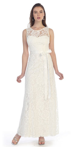 Off White Lace Dress Long Wide Straps Sleeveless Ribbon/Bow Lace