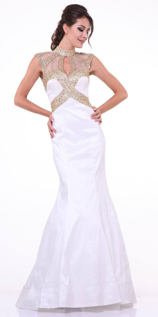 Cinderella Divine 8760 High Neck Embellished Trumpet Full Length Off White Satin Evening Gown