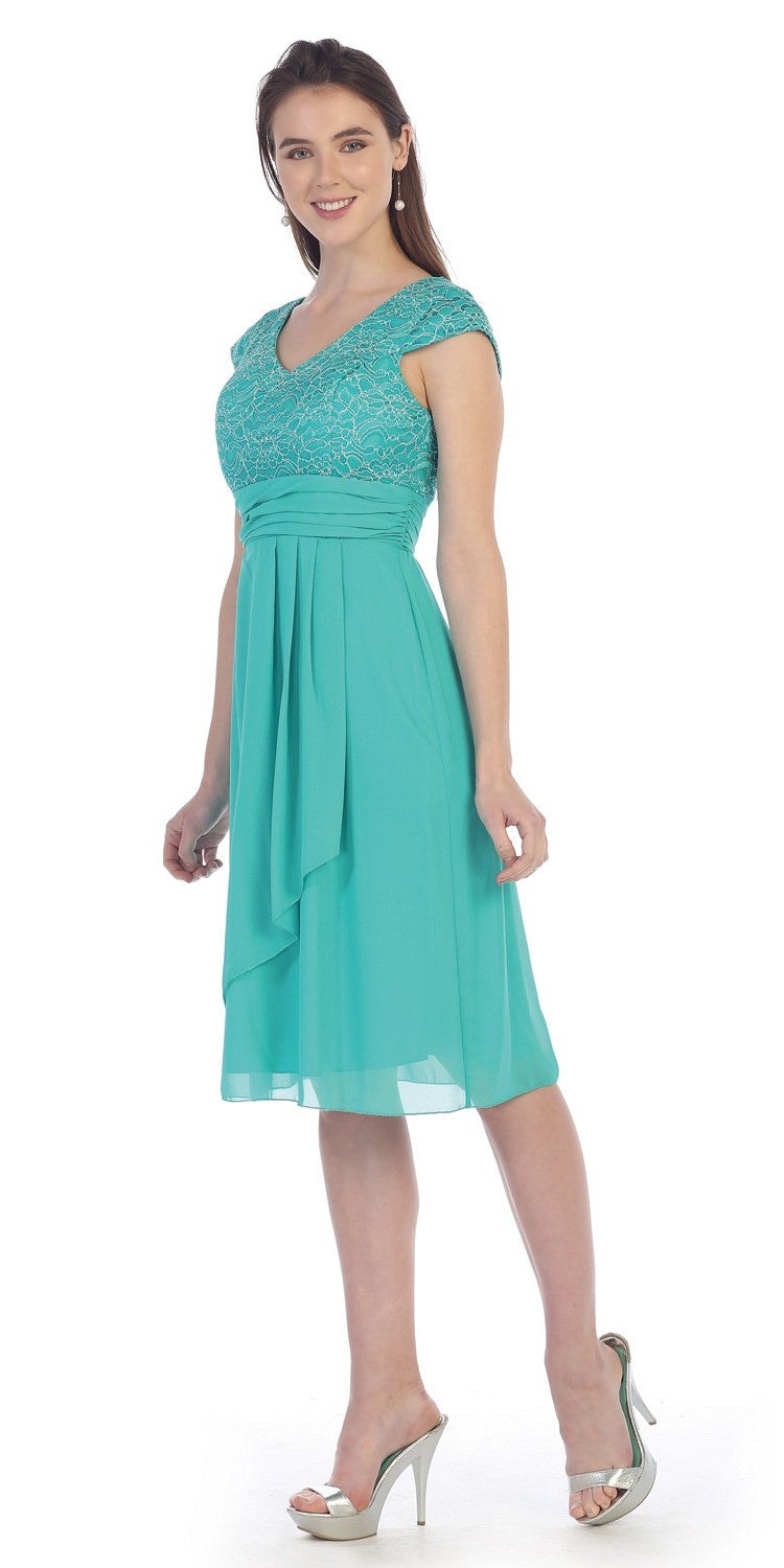 Knee Length Jade Lace/Chiffon Dress Short Bridesmaid Cap Sleeves