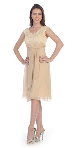 Knee Length Khaki Lace/Chiffon Dress Short Bridesmaid Cap Sleeves