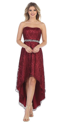 High Low Burgundy Wedding Reception Gown Strapless Rhinestone Waist