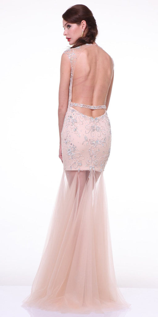 Cinderella Divine 8763 Illusion Jewel Sweetheart Neckline Tulle Sheer Skirt Champagne Formal Dress