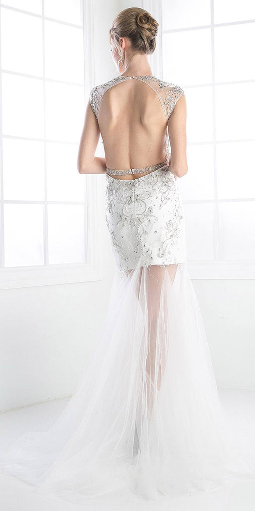 Cinderella Divine 8763 Illusion Jewel Sweetheart Neckline Tulle Sheer Skirt Off White Formal Dress