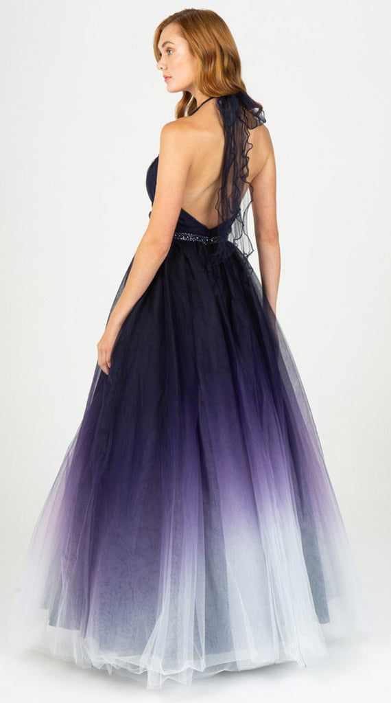 Eureka 8777 Floor Length Ball Gown Halter Navy Blue Ombre