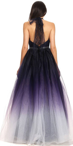 Halter Style Prom Ball Gown Navy Blue/Ombre