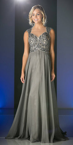 Cinderella Divine 8784 Charcoal Cap Sleeves Beaded Chiffon Skirt A-Line Full Length Formal Dress