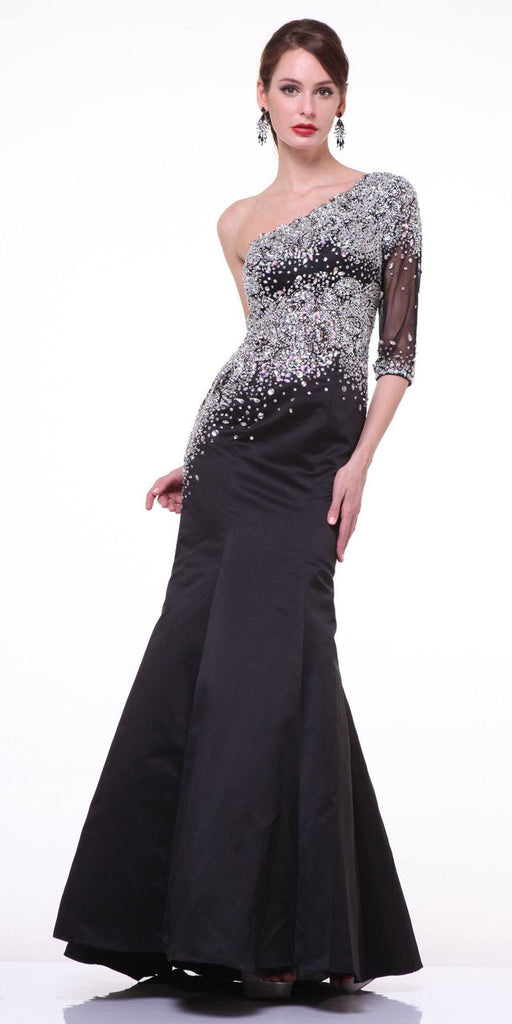 Formal Black Mermaid Dress One Shoulder Sleeve Embellished Sheer Bodice