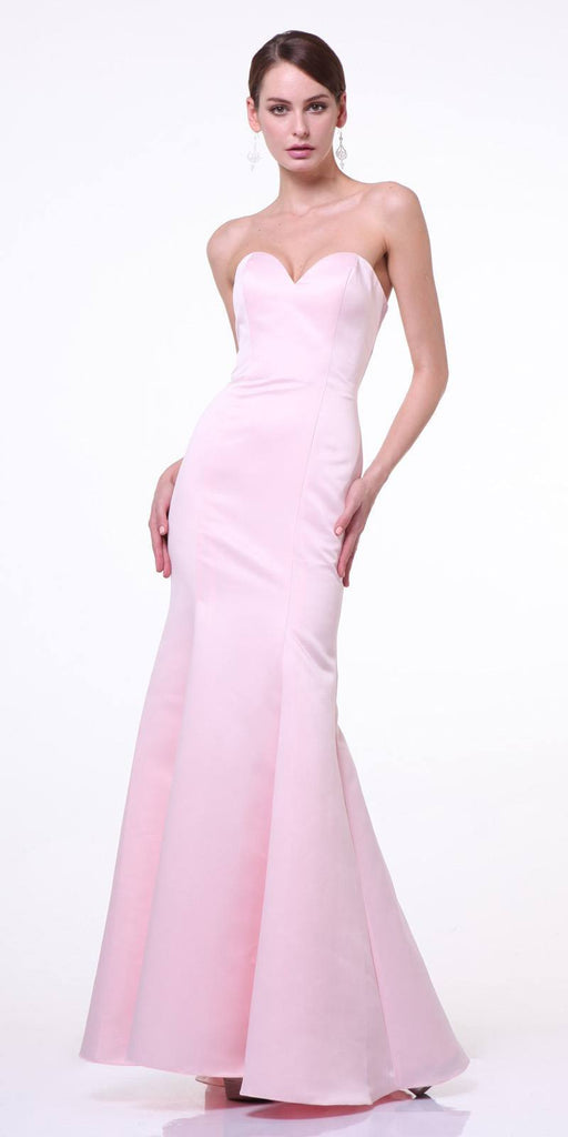 Cinderella Divine 8792 Strapless Sweetheart Neckline Mermaid Satin Full Length Gown Blush