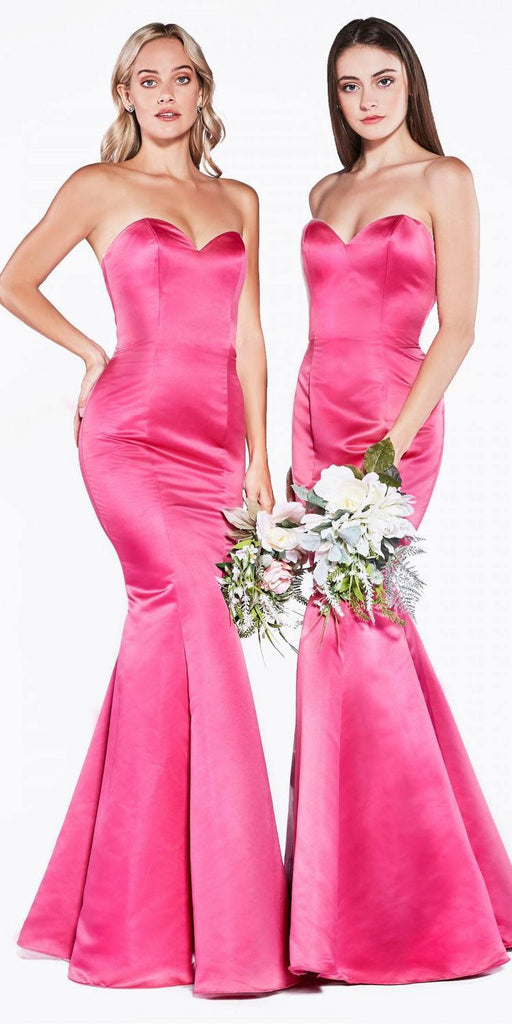 Cinderella Divine 8792 Strapless Sweetheart Neckline Mermaid Satin Full Length Gown Fuchsia