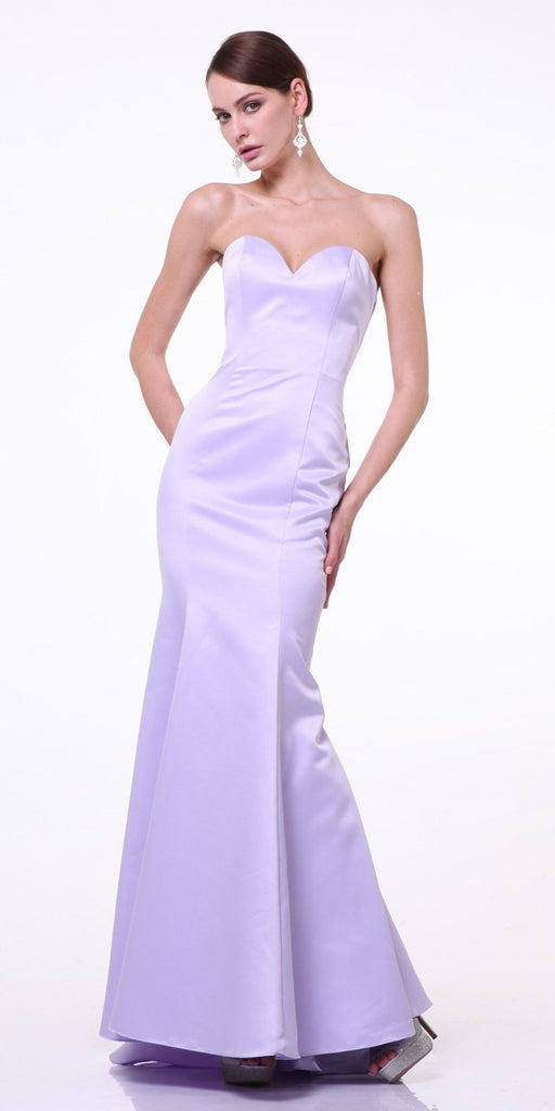 Cinderella Divine 8792 Strapless Sweetheart Neckline Mermaid Satin Full Length Gown Lavender