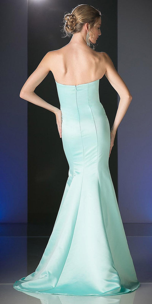 Cinderella Divine 8792 Strapless Sweetheart Neckline Mermaid Satin Full Length Gown Mint Back View
