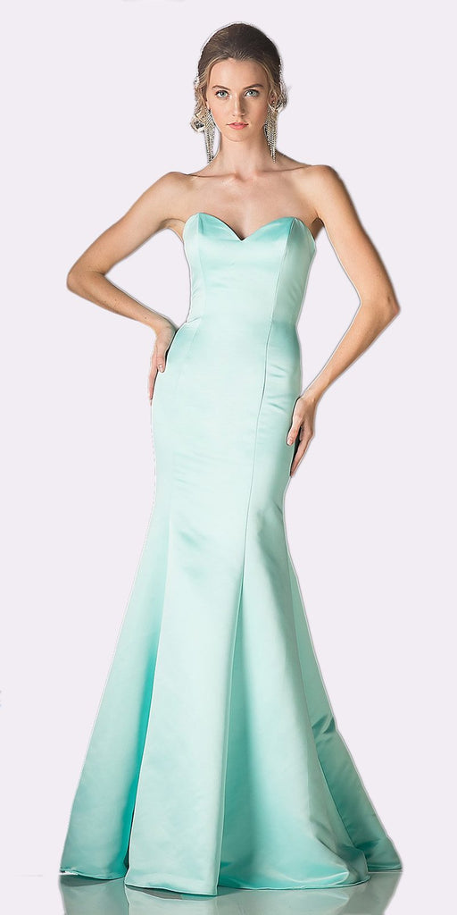 Cinderella Divine 8792 Strapless Sweetheart Neckline Mermaid Satin Full Length Gown Mint