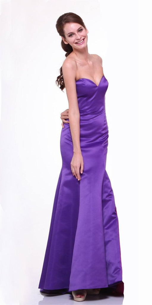 Cinderella Divine 8792 Strapless Sweetheart Neckline Mermaid Satin Full Length Gown Purple