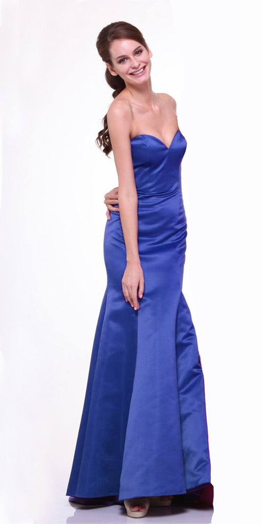 Cinderella Divine 8792 Strapless Sweetheart Neckline Mermaid Satin Full Length Gown Royal Blue