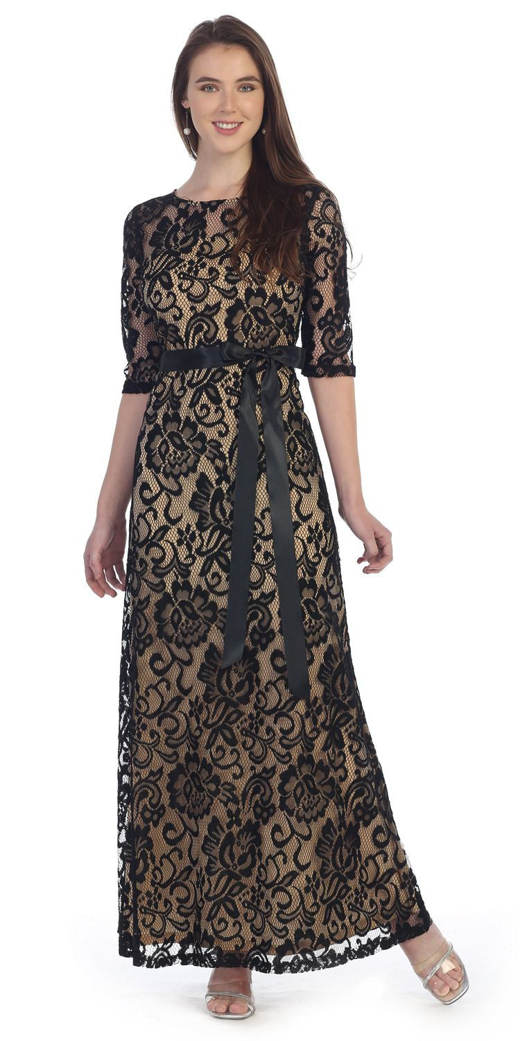 Meshed Yoke Long A Line Lace Black/Gold Semi Formal Gown