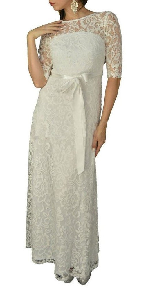 Meshed Yoke Long A Line Lace Off White Semi Formal Gown