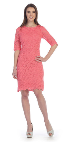 Cap Sleeve Lace Top Coral Dress Chiffon A Line Skirt