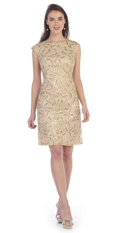 Knee Length Cap Sleeve Sequin Embellished Dress Gold