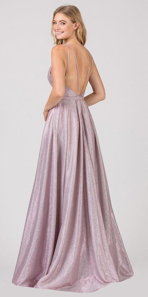 Lavender Metallic Long Prom Dress with Deep V-Neck